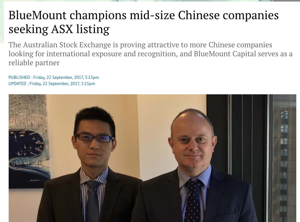 BlueMount champions mid-size Chinese companies seeking ASX listing South China Morning post